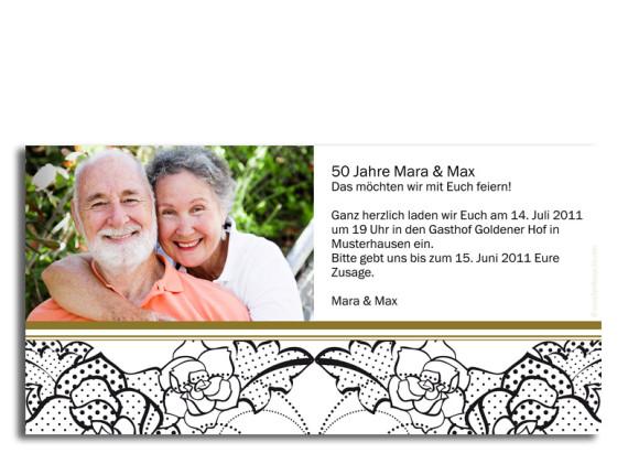 Rückseite, Einladungs-Postkarte zur Goldhochzeit, Motiv Spitze, Farbversion: beige
