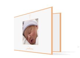 Geburtskarte Johanna/Jacob (Klappkarte) Apricot