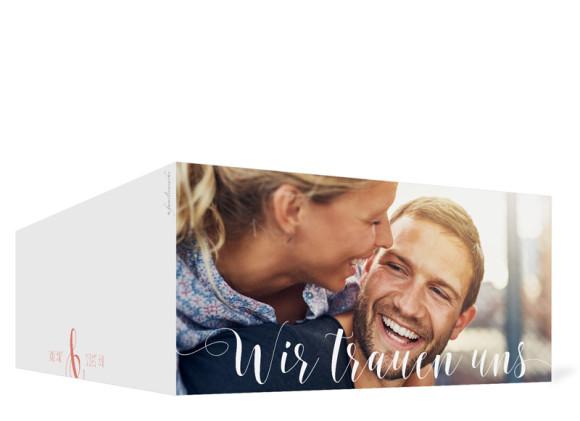 Hochzeitseinladung Cannes Pure, Klappkarte DL quer, Außenansicht in apricot