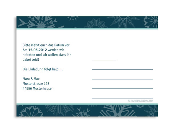 Rückseite, Einladungs-Postkarte zur Hochzeit, Motiv Reykjavik, Farbversion: blau