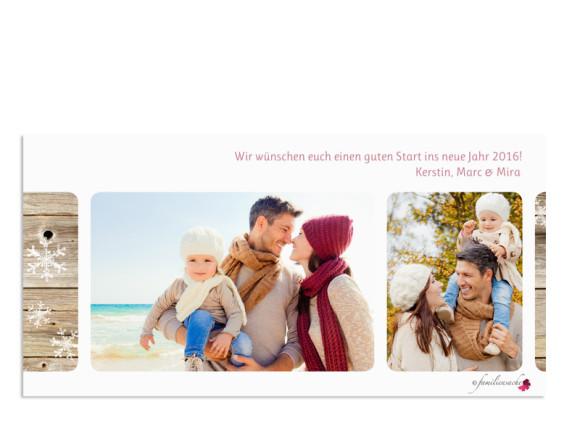 Weihnachtskarte Zürich, Rückseite der Farbansicht: altrosa