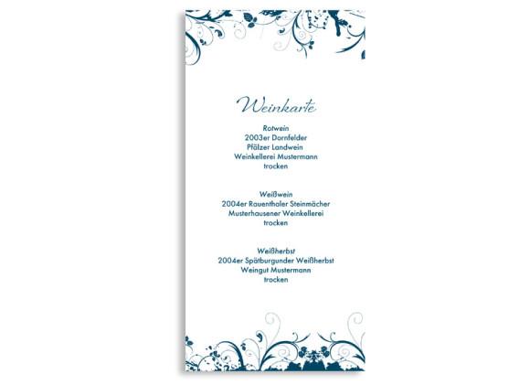 Rückseite, Menükarte zur Hochzeit (DIN Lang-Karte, zweiseitig), Motiv Miami, Farbversion: blau