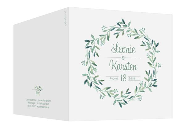 Einladungskarten Hochzeit  (quadratisch), Motiv: Blätterkranz, Aussenansicht, Farbvariante: gruen