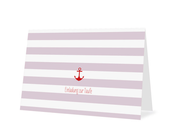 Taufkarte Stripes Anchor