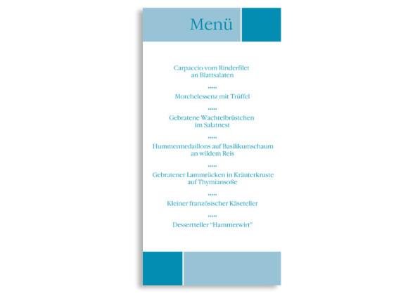 Rückseite, Menükarte zur Hochzeit (DIN Lang-Karte, zweiseitig), Motiv Helsinki, Farbversion: blau