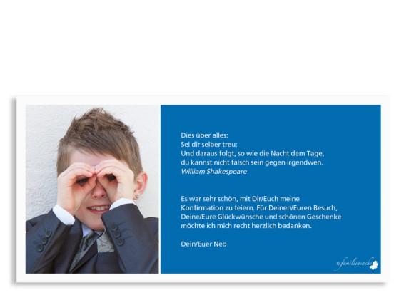 Konfirmationsdanksagungen Nora/Neo, Rückseite der Farbversion: blau