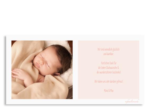 Karte zur Geburt (Postkarte DL, quer), Motiv: Jette/Janik FRESH, Rückseite, Farbversion: apricot