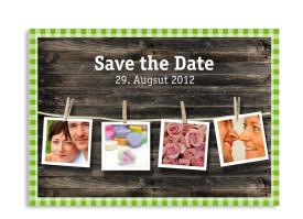 Save-The-Date-Hochzeitskarte Alpenglühen (Postkarte A6) Grün