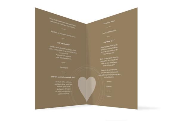 Innenansicht, Klappkarte zur Hochzeit (Kirchenheft), Motiv Pur, Farbversion: beige-weiss