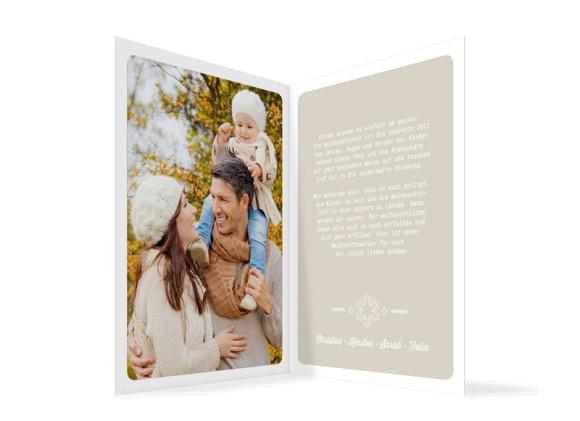 Grußkarten zu Weihnachten Pure, Innenansicht der Farbversion: beige