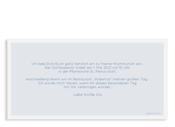 Einladung zur Kommunion (Postkarte DL quer mit Fotos), Motiv: Bedeutung, Rückseite, Farbvariante: dunkelblau