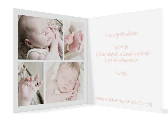 Kartenformat Klappkarte quadratisch (300 x 150 mm), Motiv: Emma/Emil, Innenansicht, Farbvariante: apricot