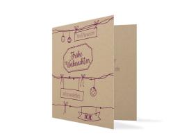 Weihnachtskarte Sketchy (quad. Klappkarte - 2020) aubergine