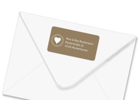 Absender-Adressetiketten Pur Beige/Weiß