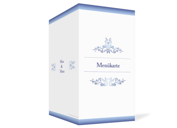 Außenansicht, Menükarte zur Hochzeit (Klappkarte), Motiv Mailand, Farbversion: blau