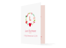 Kommunionsdanksagungen Laura/Levi (Klappkarte) Rot