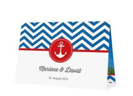 Hochzeitsdanksagungen Hamptons Anchor (Öffnung unten) Blau/Rot