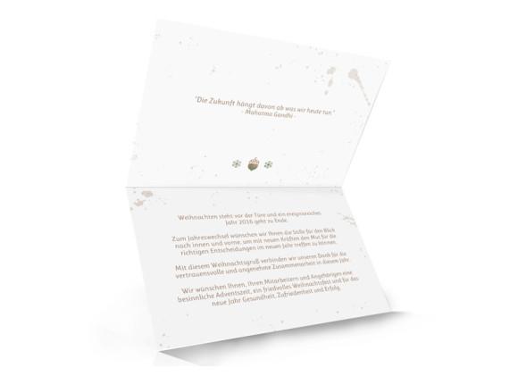 schlichte Unternehmen Weihnachtskarte Hubertus, Innenansicht in Braun