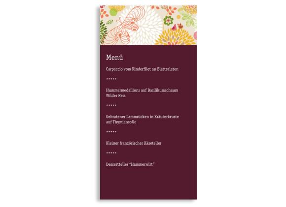 Rückseite, Menükarte zur Hochzeit (DIN Lang-Karte, zweiseitig), Motiv Lissabon, Farbversion: bordeaux