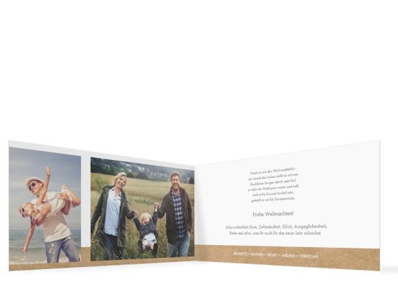 Weihnachtskarte Waldtiere, Innenansicht der Farbversion: weiß