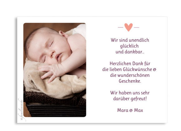 Babykarte (Postkarte A6), Motiv: Kaija/Kasper, Rückseite, Farbversion: brombeer/apricot