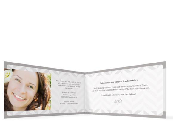 Einladungskarten Geburtstag Pattern, Innenansicht der Farbversion: beige