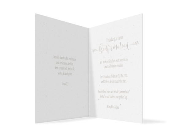 Einladung zur Konfirmation Blumenkranz, Klappkarte A6 hoch, Innenansicht in beige