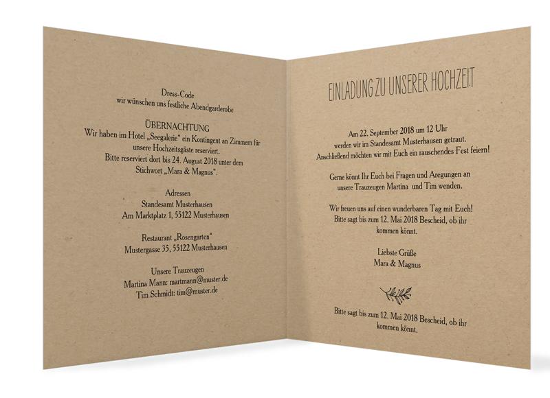Einladungskarten Zur Hochzeit Nature · Hochzeitseinladung Nature, Motiv:  Nature, Innenansicht, Farbvariante: Schwarz ...