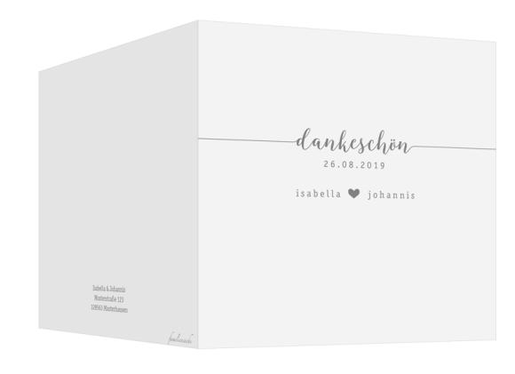 Hochzeitsdanksagungen (Klappkarte quadratisch - 300 x 150 mm), Motiv: Gent Pure, Aussenansicht, Farbvariante: grau