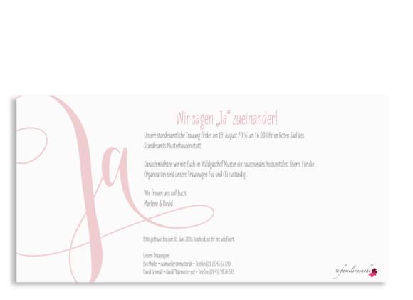 Hochzeitseinladung Cannes pure, Postkarte DIN Lang, Rückseite, Farbversion: puder