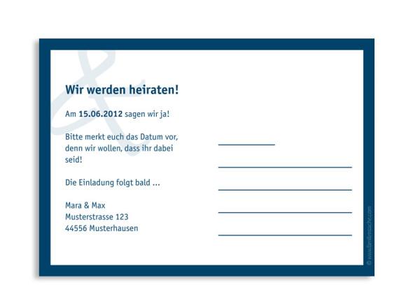 Rückseite, Einladungs-Postkarte zur Hochzeit, Motiv Bern, Farbversion: blau