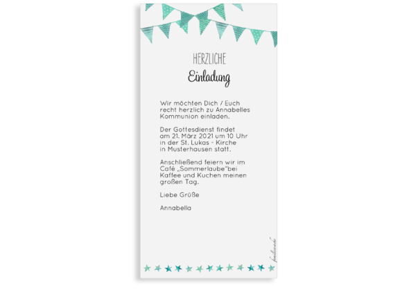 Kommunionseinladung (Postkarte DL mit Foto), Motiv: Stimmung, Rückseite, Farbvariante: gruen