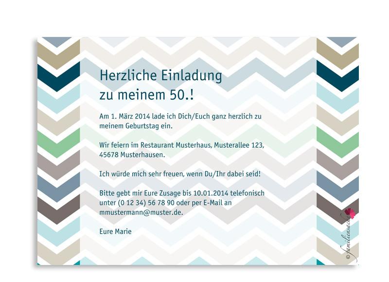 Einladungen zum 50. Geburtstag ZigZag selbst gestalten | familiensache