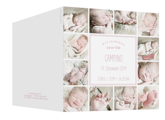 Geburtskarte (Klappkarte quadratisch, 13 Fotos), Motiv: Carmen/Campino, Aussenansicht, Farbvariante: altrosa