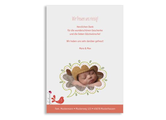 Geburtspostkarte, Motiv: Lenchen/Lenhard, Rückseite, Farbversion: apricot