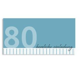 Einladungskarte Stripes 2 zum 80. Geburtstag (Postkarte) Blau