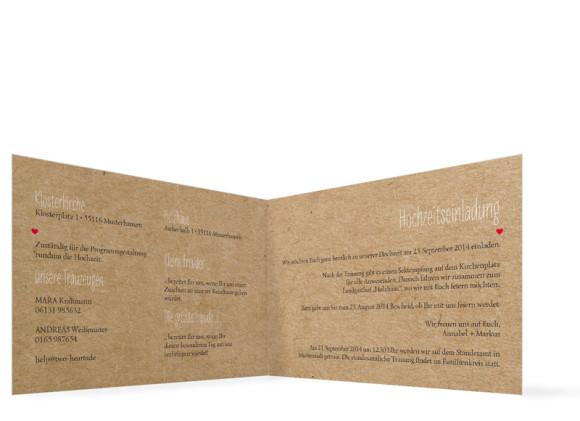 Einladungskarten Hochzeit Luzern, innenansicht der Farbversion: beige