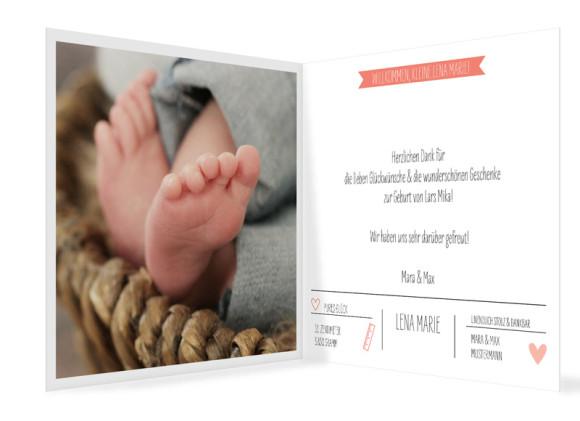 Geburtskarte Lena/Lars, quadr. Klappkarte in apricot
