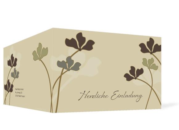 Außenansicht, Geburtstagseinladung, Motiv Growing, Farbversion: beige