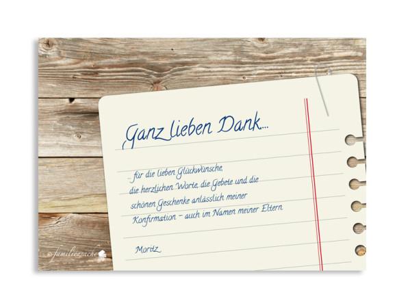 Konfirmationsdanksagung, Motiv Notizzettel, Rückseite, Farbversion: braun