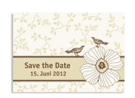 Save-The-Date-Hochzeitskarte Oxford (Postkarte A6) Beige/Braun