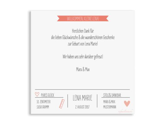 Danksagung zur Geburt, Motiv: Lena/Lars, (quadratische Postkarte), Rückseite, Farbvariante:  apricot