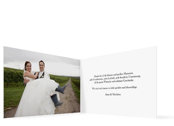 Dankeskarten zur Hochzeit Blanche, Innenansicht der Farbversion: weiß