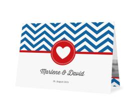 Hochzeitsdanksagungen Hamptons Heart (Öffnung unten) Blau/Rot