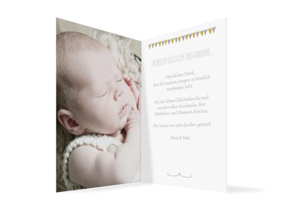 Babykarte (Klappkarte A6, 1 Foto), Motiv: Magda/Mark, Innenansicht, Farbvariante: grau