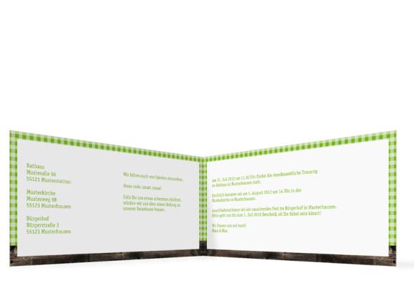 Innenansicht, Klappkarte zur Hochzeit ohne Fotos (Format DIN Lang), Motiv Alpenglühen, Farbversion: grün