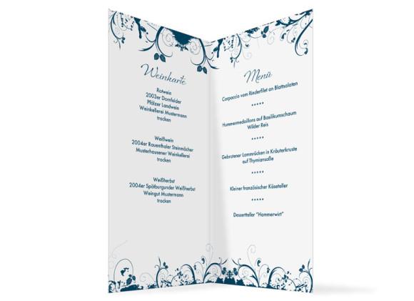 Innenansicht, Menükarte zur Hochzeit (Klappkarte), Motiv Miami, Farbversion: blau