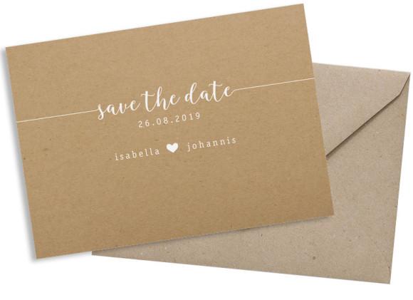 Save-the-date (Postkarte), Motiv: Gent Natural, mit Briefhülle, Farbvariante: weiss