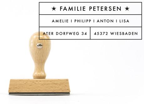 "Familienstempel ""Wiesbaden"" (personalisierter Adressstempel), ca. 80 x 40 mm"