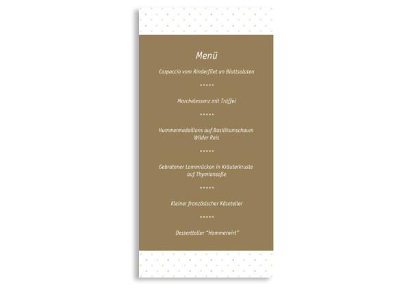 Rückseite, Menükarte zur Hochzeit (DIN Lang-Karte, zweiseitig), Motiv Prag, Farbversion: beige